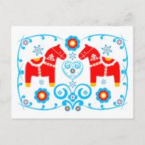 Red Dala Horses Postcard