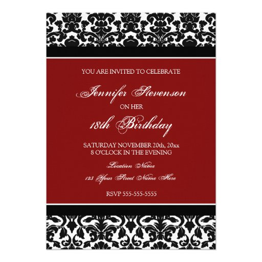 Red Damask 18th Birthday Party Invitations