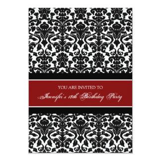 Girls 18th birthday party invitations announcements zazzle red damask 18th birthday party invitations stopboris Images