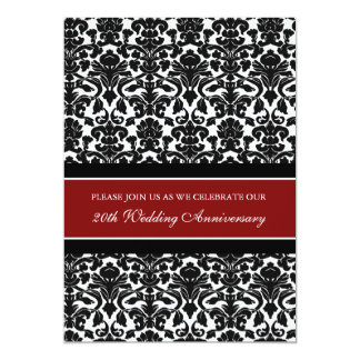 Red Damask 20th Anniversary Party Invitation