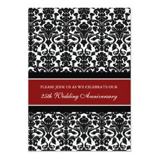 Red Damask 25th Anniversary Party Invitation