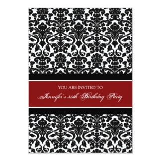 Red Damask 35th Birthday Party Invitations