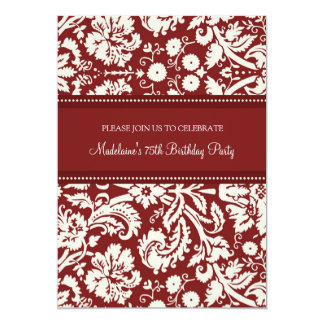 Red Damask 75th Birthday Party Invitations