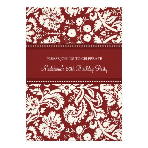 Red Damask 80th Birthday Party Invitations