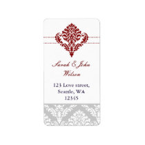 red damask address labels