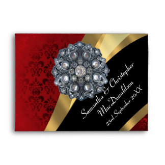 Red damask and crystal rhinestone envelope