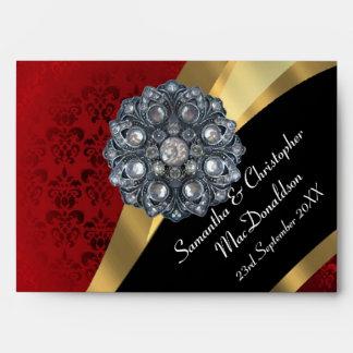Red damask and crystal rhinestone envelopes
