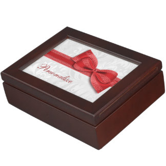 Red Damask and Faux Bow Memory Box