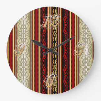 Red Damask and Gold Wall Clock