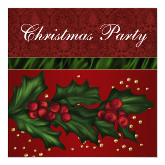 Red Damask and Holly Corporate Christmas Party Card