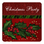 Red Damask and Holly Corporate Christmas Party Invitations