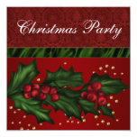 Red Damask and Holly Corporate Christmas Party Announcement
