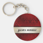 Red damask and ribbon basic round button keychain