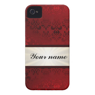 Red damask and ribbon iPhone 4 Case-Mate cases