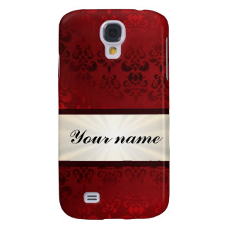 Red damask and ribbon galaxy s4 cover