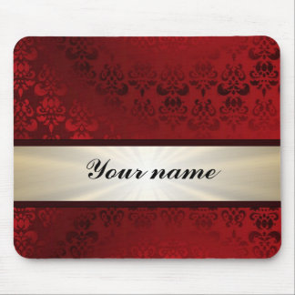 Red damask and ribbon mouse pad