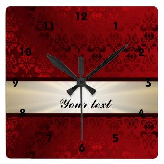 Red damask and ribbon square wall clock