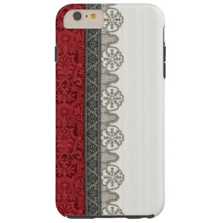 Red Damask and Silver Lace Tough iPhone 6 Plus Case