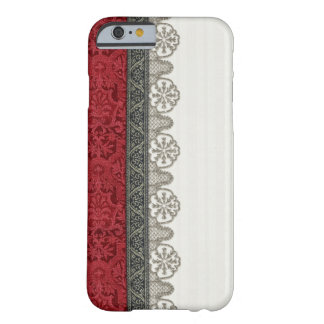 Red Damask and Silver Lace Barely There iPhone 6 Case