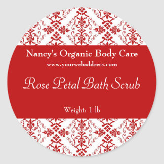 Red Damask bath, soap, and cosmetics label Classic Round Sticker