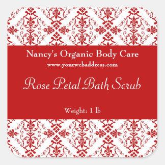 Red Damask bath, soap, and cosmetics label square Square Sticker