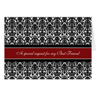 Red Damask Best Friend Bridesmaid Invitation Card