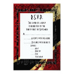 Red damask black and gold formal wedding R.S.V.P 3.5x5 Paper Invitation Card