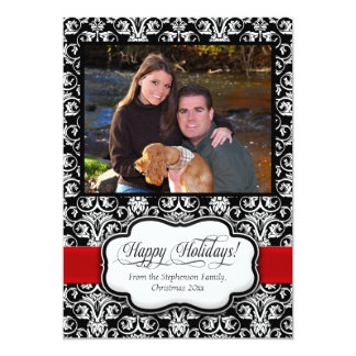 """Red Damask Black and White Holiday Greeting Card 5"""" X 7"""" Invitation Card"""