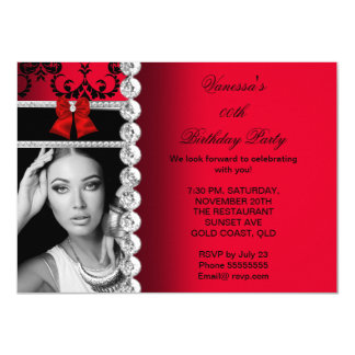 Red Damask Black Jewel Bow Birthday Photo Card