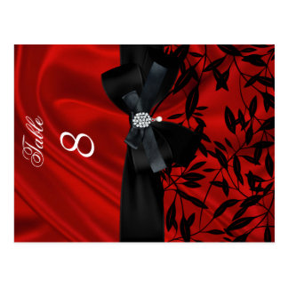 Red Damask Black Table Number Seating Place Card