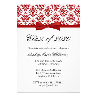 Red Damask Bow Graduation Announcement