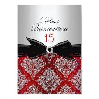 Red Damask & Bow Quinceanera Announcements