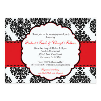Red Damask Bridal Shower Engagement Invitation