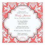 Red Damask Bridal Shower Invitation Card