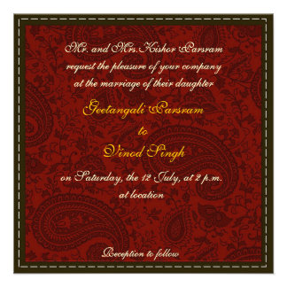Red damask brocade Hindu wedding Personalised Announcement