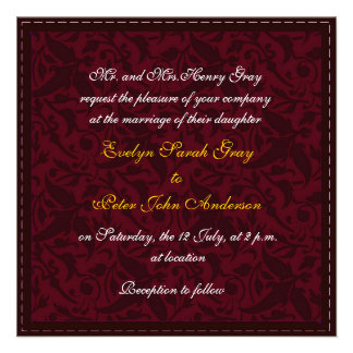 Red Damask Brocade Vintage wedding Announcement