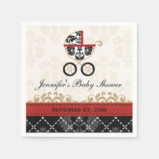 Red Damask Carriage Baby Shower Napkin