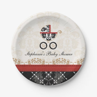 Red Damask Carriage Baby Shower Paper Plate