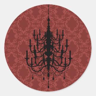 Red Damask Chandelier Wedding Seal Classic Round Sticker