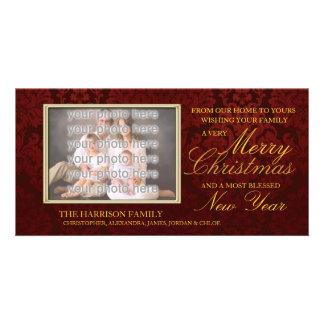 Red Damask Christmas Customized Photo Card