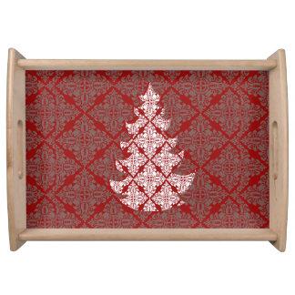Red Damask Christmas Tree Serving Platter