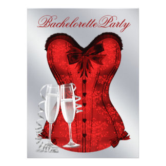 Red Damask Corset Champagne Red Bachelorette Party Personalized Invite