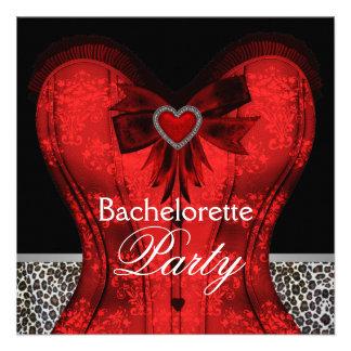 Red Damask Corset Leopard Bachelorette Party Announcement