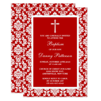 Red Damask Cross Baptism Or Christening Card