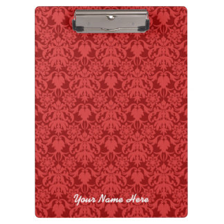 Red Damask (customizable) Clipboard