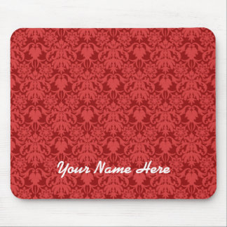 Red Damask (customizable) Mouse Pad