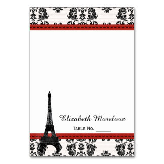 RED Damask Eiffel Tower Tent Place Cards