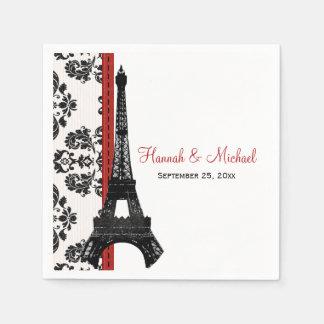 RED Damask Eiffel Tower Wedding Paper Napkin