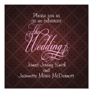 Red Damask Elegant Wedding Swashes Invitation Card