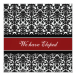 Red Damask Elopement Announcement Cards